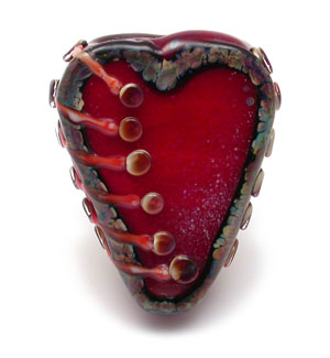 Stitched Heart Bead