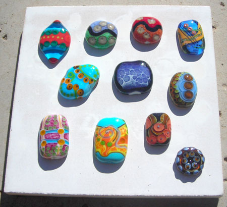 fused lampwork glass beads