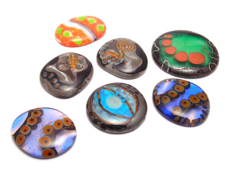 fused slumped glass beads