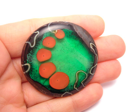 slumped kiln formed glass bead pendant