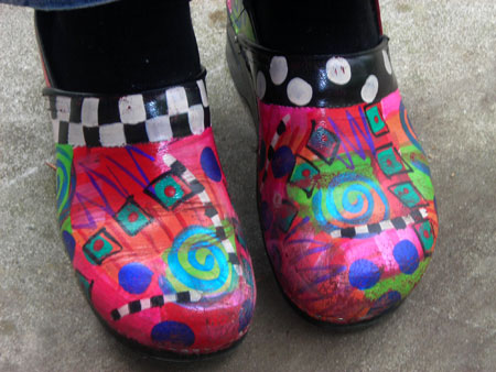 paula's painted clog shoes