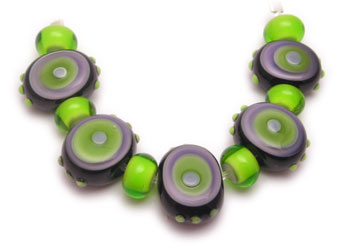 purple green glass beads