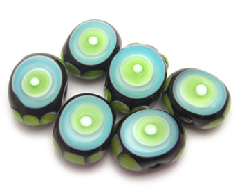 turquoise green glass beads
