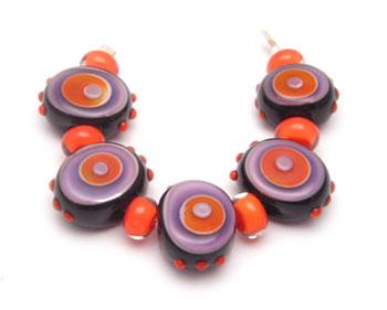 orange and purple color studies in glass