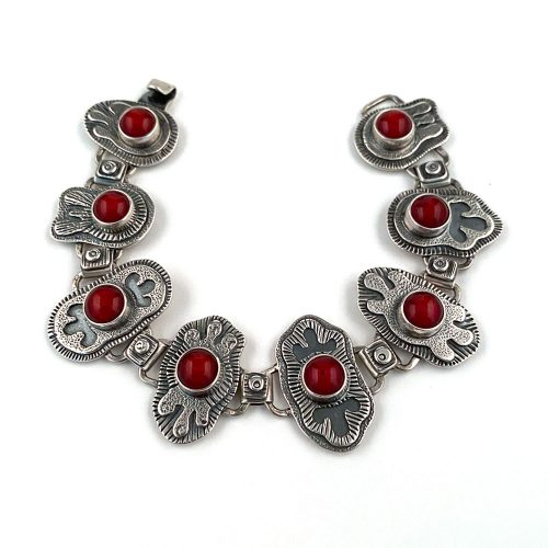 red glass and sterling silver handmade bracelet
