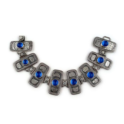 sterling silver and blue glass art bracelet