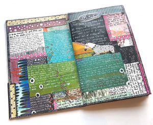 image of art journal with multiple sections of writing