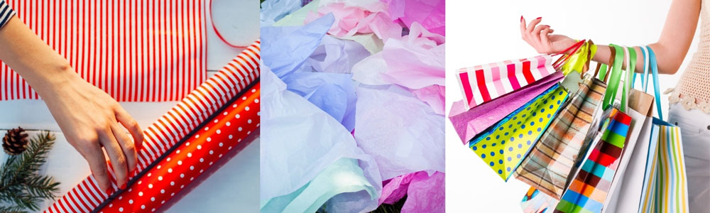 images of tissue paper and shopping bags