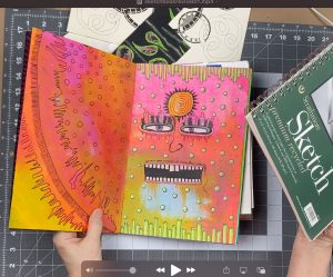 photo of bright colored junk journal spread