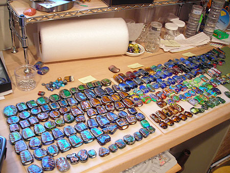 image of glass bead production work